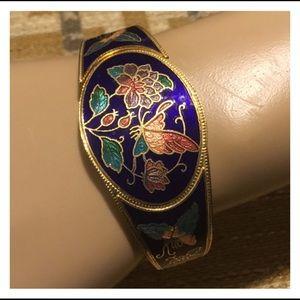 Vintage Ethnic Style Gold Midnight Blue Cuff